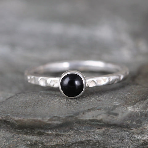 Onyx Stacking Ring - Rustic Sterling Silver - Black Onyx