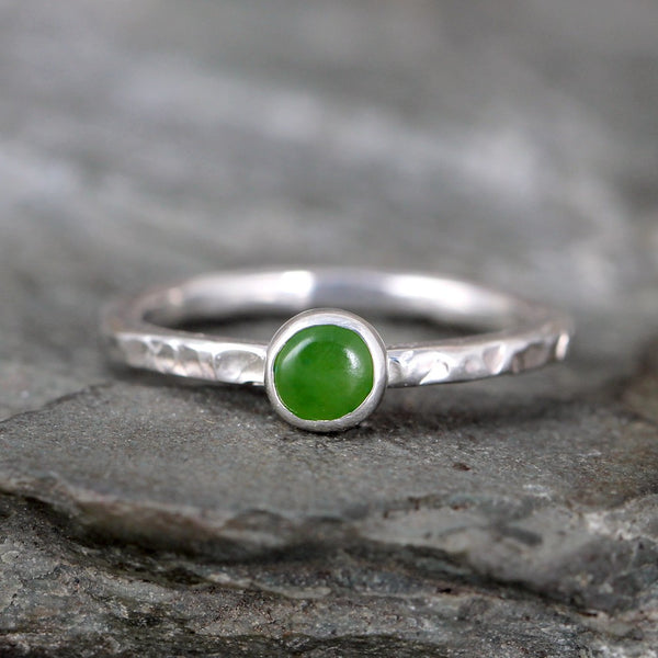 Jade Stacking Ring - Rustic Sterling Silver - Nephrite Jade
