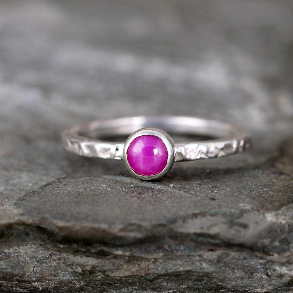 Star Ruby Stacking Ring - Rustic Sterling Silver - July Birthstone