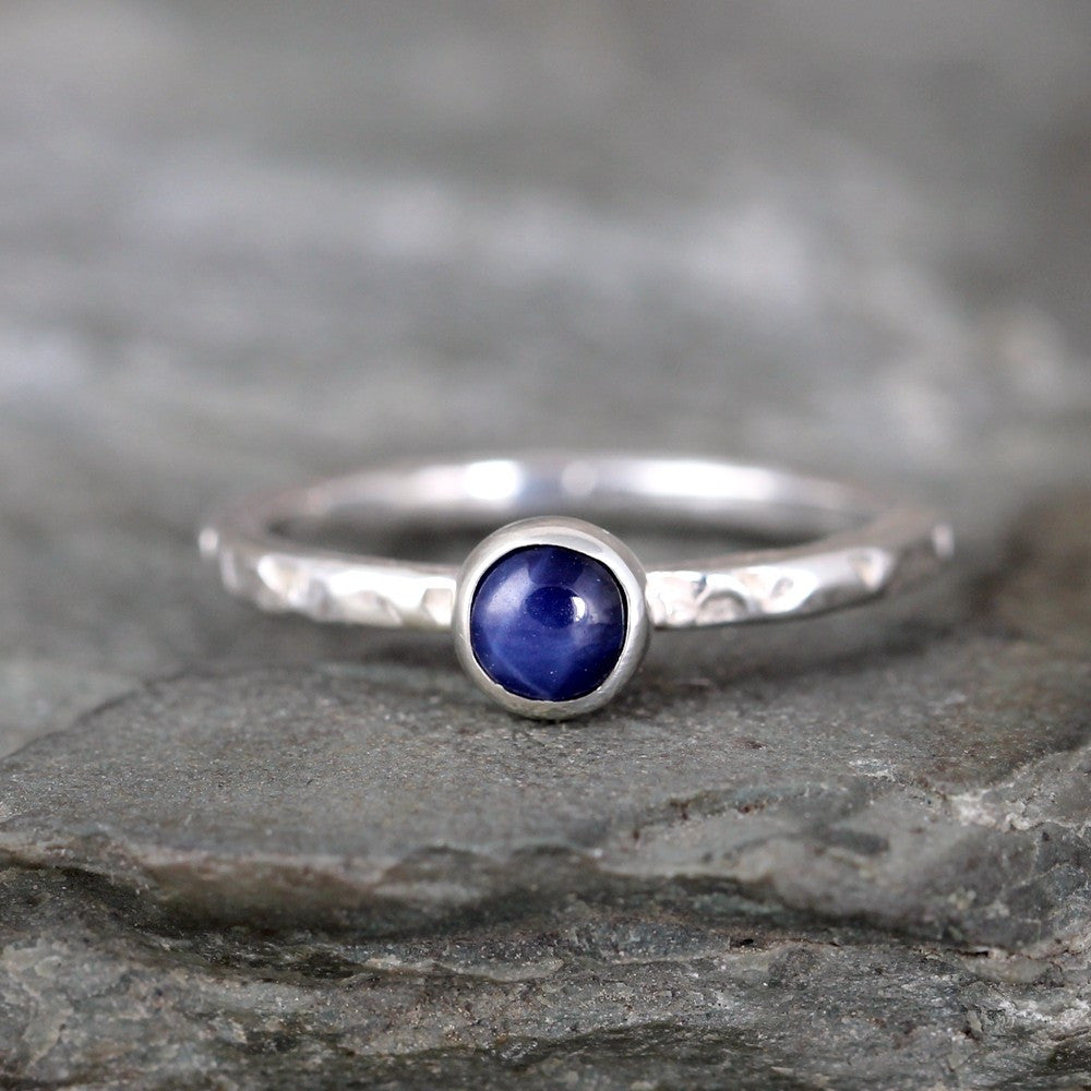 Star Sapphire Stacking Ring - Rustic Sterling Silver - September Birthstone