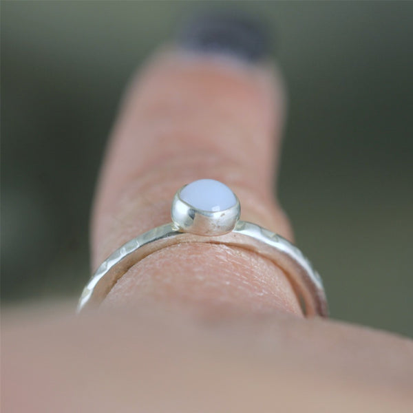 Blue Chalcedony Stacking Ring - Rustic Sterling Silver