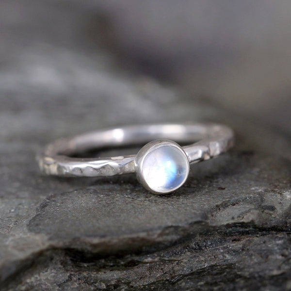 Moonstone Stacking Ring - Rustic Sterling Silver - June Birthstone