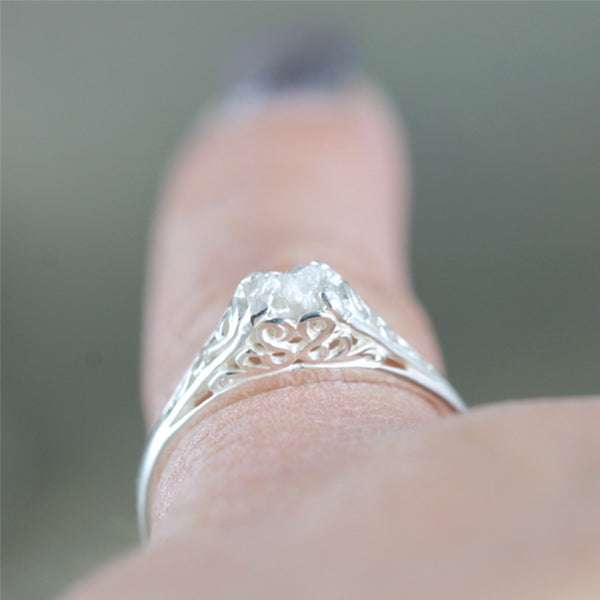 Rough Diamond Filigree Design Engagement Ring - Antique Style
