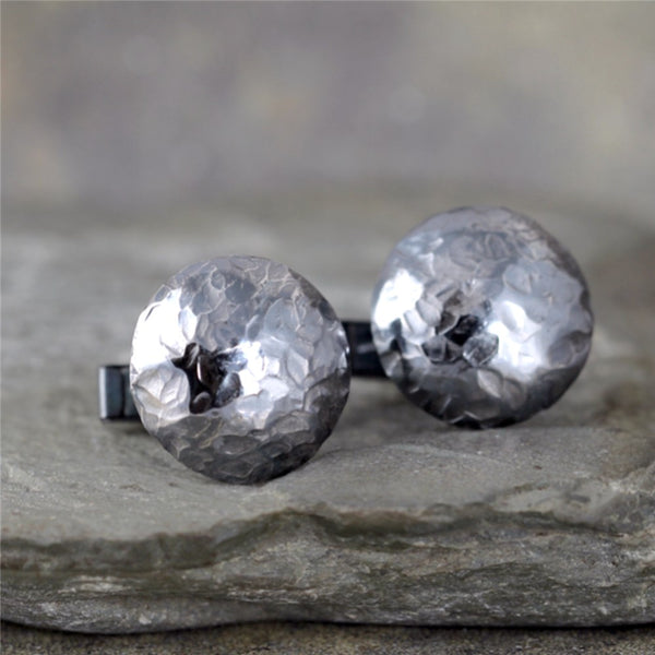 Rustic Round Cufflinks - Sterling Silver - Hammered Texture - Oxidized Finish