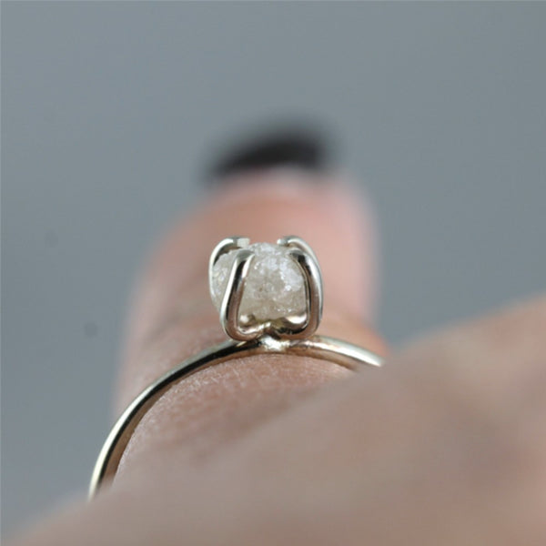 14K White Gold Rough Diamond Ring - Alternative Unique Engagement Ring