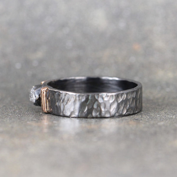 Raw Diamond Ring - Black Sterling Silver and 14K Rose Gold