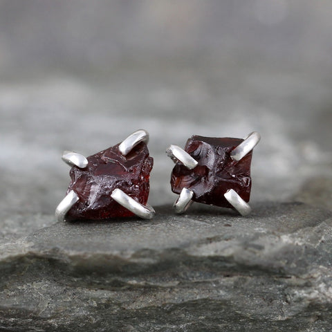 Garnet Earrings - Raw Uncut Rough Garnet Gemstone Earrings - Red Rustic Gemstone
