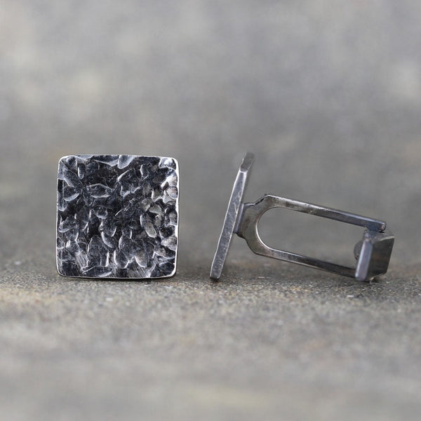 Rustic Square Cufflinks - Sterling Silver - Hammered Texture - Oxidized Finish