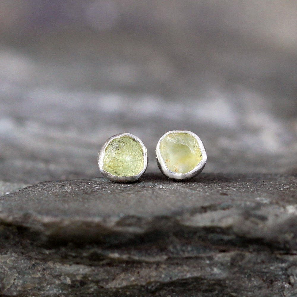 Montana Sapphire Earrings - Yellow Raw Uncut Rough Montana Sapphire Stud Earring