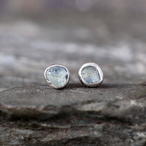 Montana Sapphire Earrings - Ice Blue Raw Uncut Rough Montana Sapphire Stud Earring
