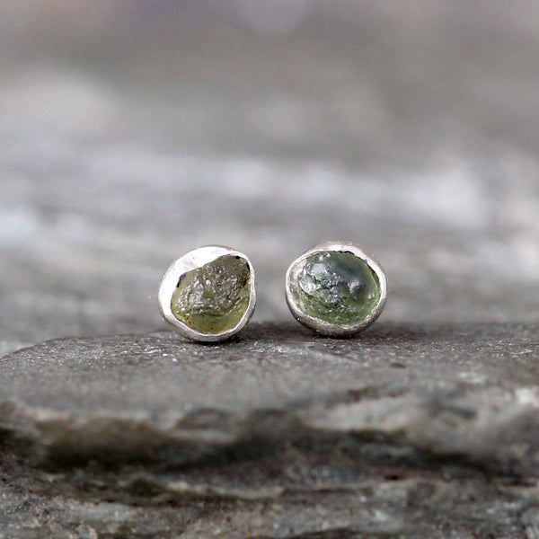 Montana Sapphire Earrings - Blue Green Raw Uncut Rough Montana Sapphire Stud Earring
