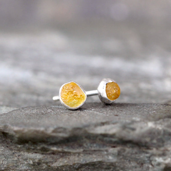 Montana Sapphire Earrings - Vibrant Yellow Raw Uncut Rough Montana Sapphire Stud Earring