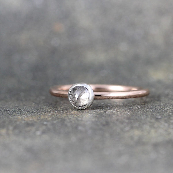 Rose Cut Diamond Ring - 14K Pink Gold & Sterling Silver