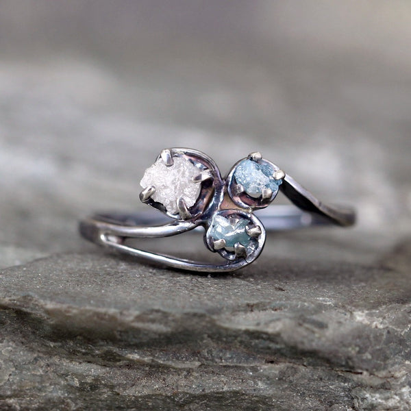 Trio Diamond Ring - 3 Diamond Ring - Trio of Rough, Uncut, Raw Diamonds - Rustic Blue Diamond Ring