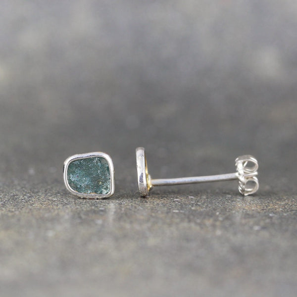 Rough Diamond Slice Earrings - Sterling Silver Stud Earring