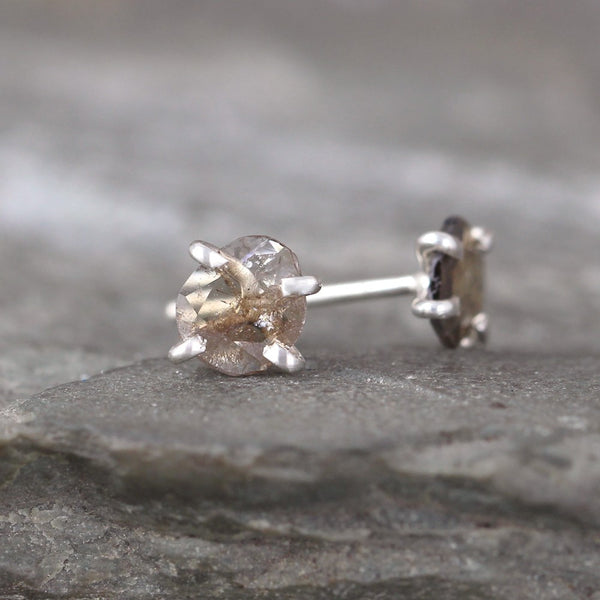 Rustic Diamond Slice Earrings - Rough Diamond Stud Earring