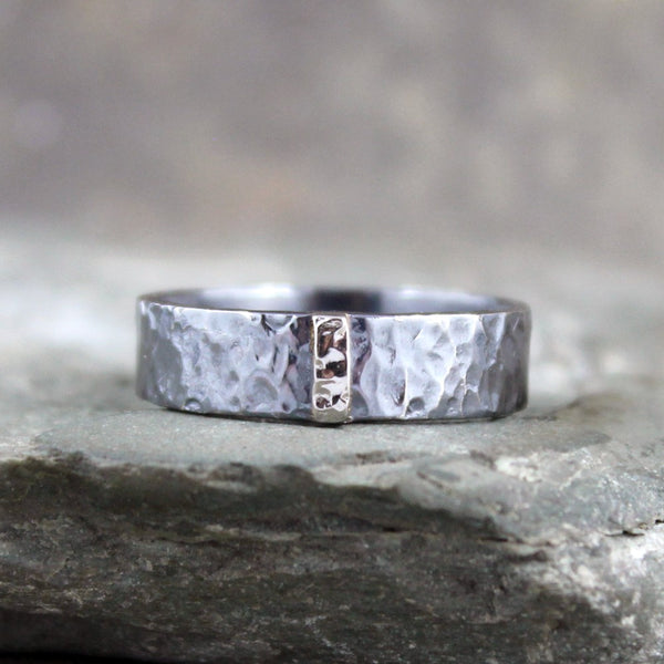 14K White Gold and Black Sterling Silver Band