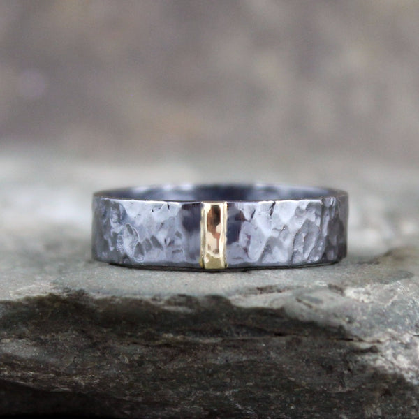 14K Yellow Gold and Black Sterling Silver Band