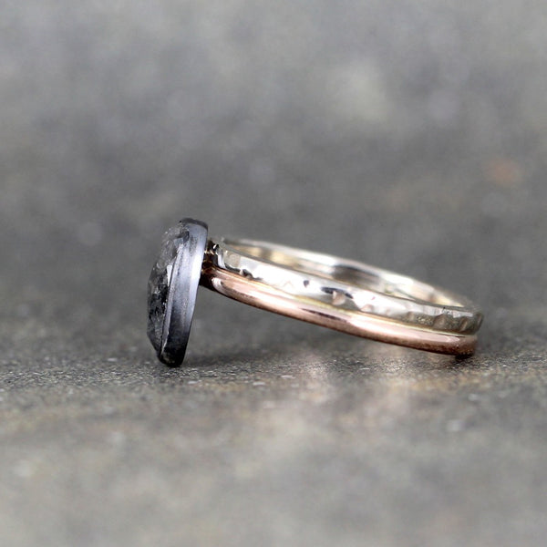 Black Rose Cut Diamond Ring - 14K Pink & White Gold - Bezel Set in Sterling Silver
