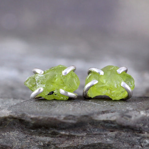 Peridot Earrings - Raw Uncut Rough Peridot Gemstone Earrings - Rustic Gemstone