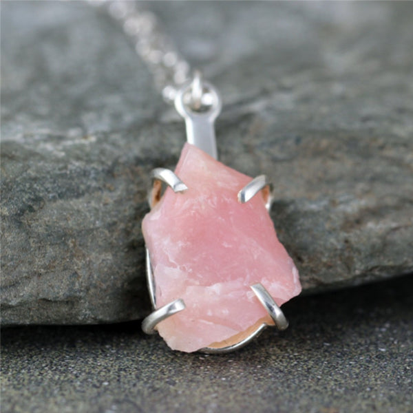 Pink Opal Necklace - Raw Uncut Pink Opal Gemstone