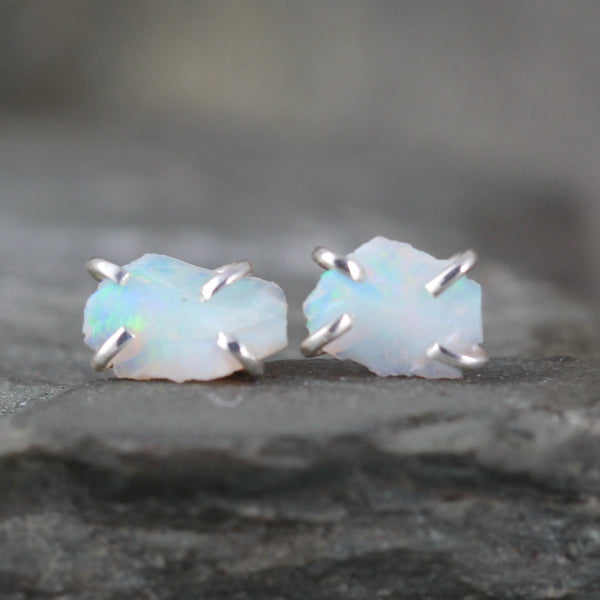 Opal Earrings - Uncut Raw Opal Gemstone Earrings