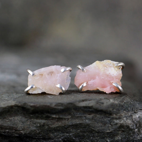 Pink Opal Earrings - Uncut Raw Pink Opal Gemstone Earrings