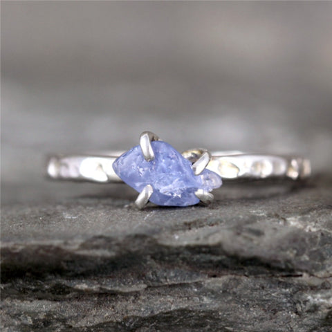 Raw Natural Sapphire Ring - Hammered Texture Rustic Birthstone Ring