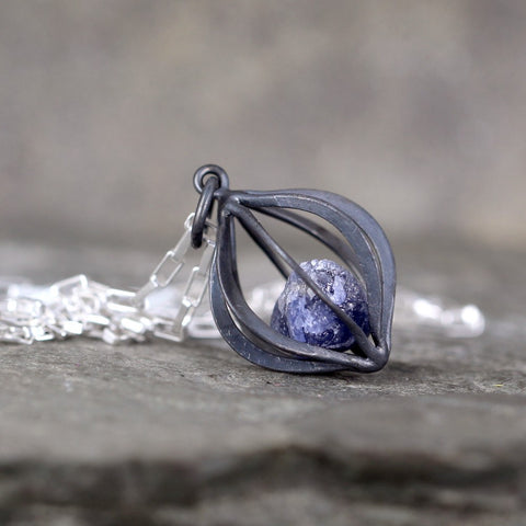 Lantern Shape Caged Sapphire Pendant - Caged Raw Uncut Sapphire Necklace