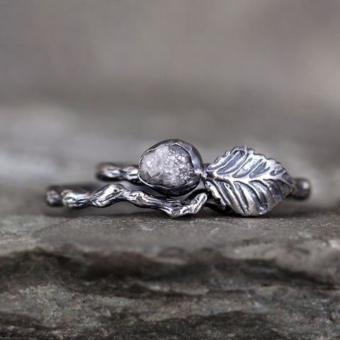 Twig & Leaf Raw Diamond Engagement Ring Set - Nature Inspired