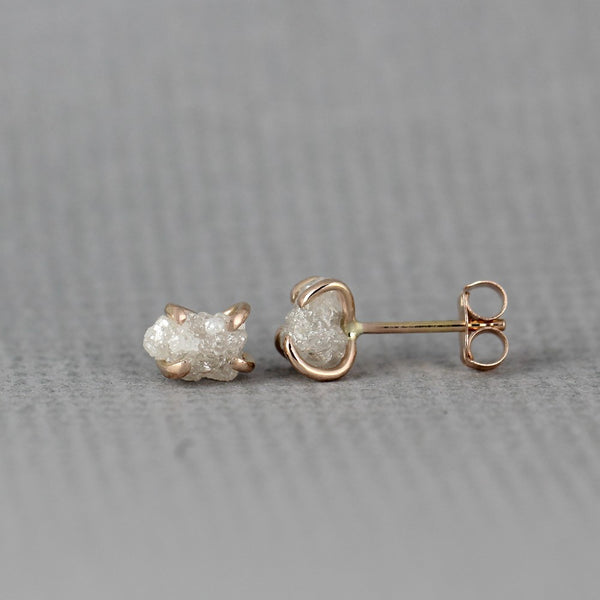 Rose Gold Uncut Diamond Earrings - 14K Rose Gold Handmade Stud Earring