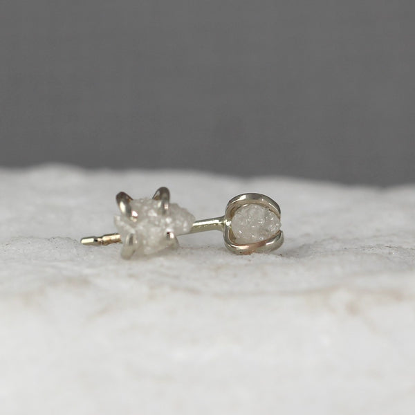 White Gold Uncut Diamond Earrings - 14K White Gold Handmade Stud Earring