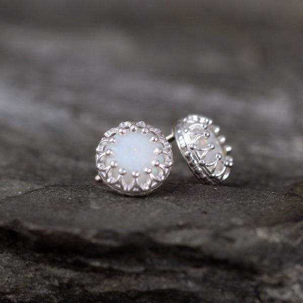 Opal Earrings - Crown Setting - Sterling Silver