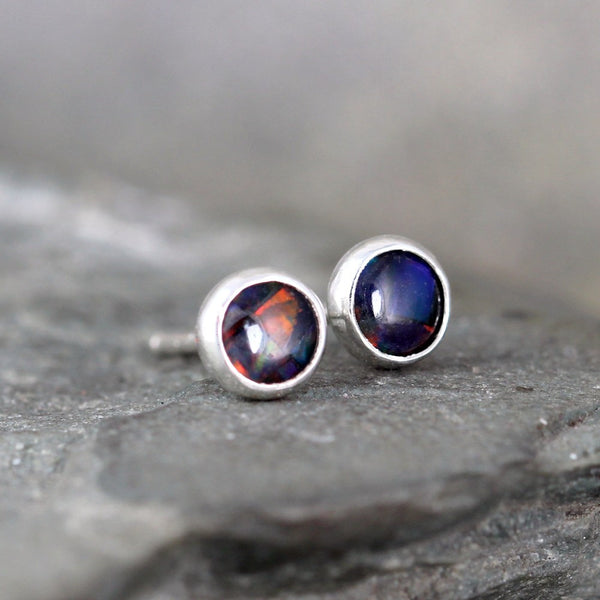 Mosaic Opal Earrings - Sterling Silver Bezel Set Stud Earrings