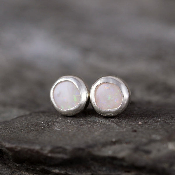 Genuine Opal Earrings - Sterling Silver Bezel Set Stud Earrings - October Birthstone