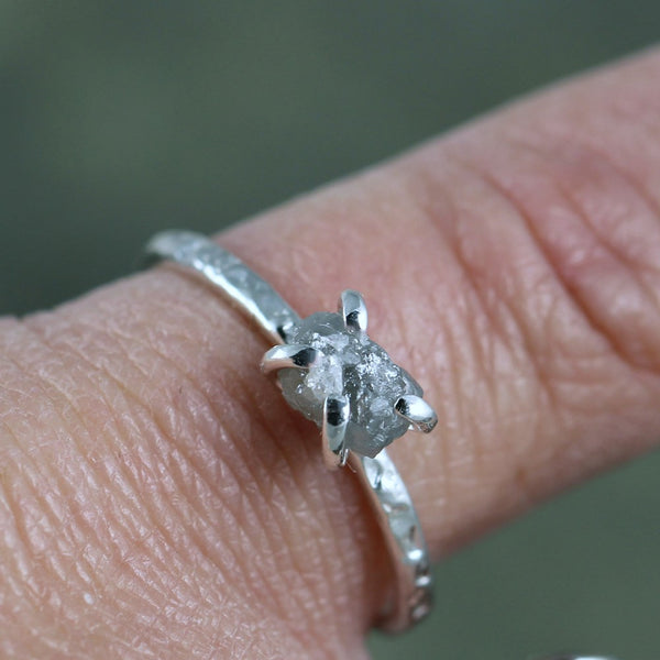 Raw Uncut Diamond Ring - Rustic Engagement Ring - Stacking Ring - Hammered Finish Sterling Silver