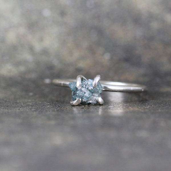 Blue Raw Uncut Diamond Ring - Rustic Engagement Ring - Stacking Ring - Shiny Polished Finish Sterling Silver