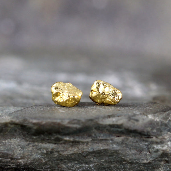 Gold Nugget Earrings - Natural Real Yukon Gold - For Men or Women