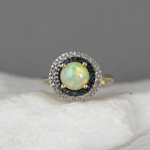 Opal and Diamond Ring - 10K Yellow Gold Estate Jewellery