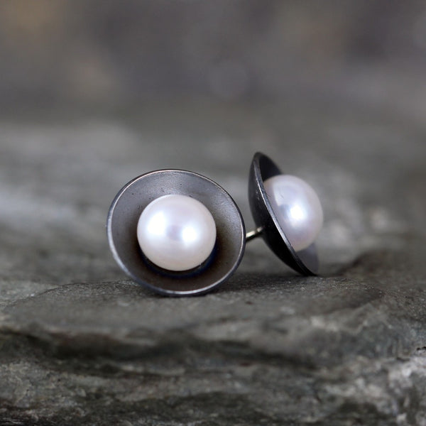Pearl Earrings - Modern Design - White Fresh Water Pearls - Oxidized Sterling Silver