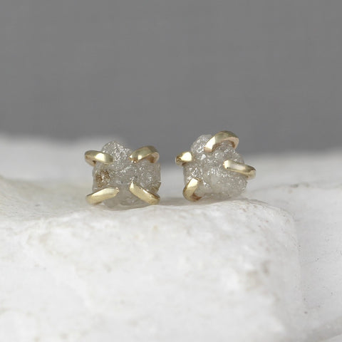 Yellow Gold Uncut Diamond Earrings - 14K Yellow Gold Handmade Stud Earring