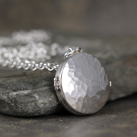 Round Sterling Silver Locket - Hinged Locket with Rustic Hammer Texture