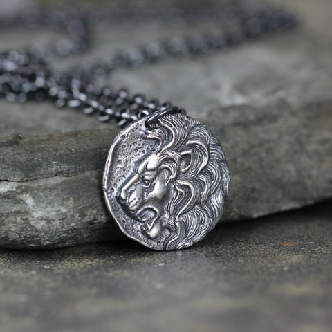 Lion Head Pendant - Coin Necklace - Men's Jewellery -