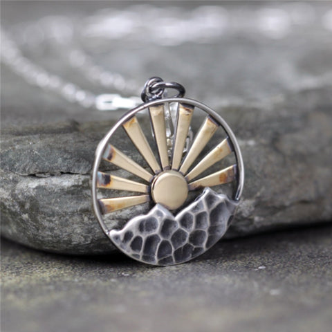 Mountain Sunrise Pendant - Mixed Metals
