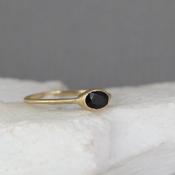 Sapphire Stacking Ring - 14K Yellow Gold - Rustic Stack Ring