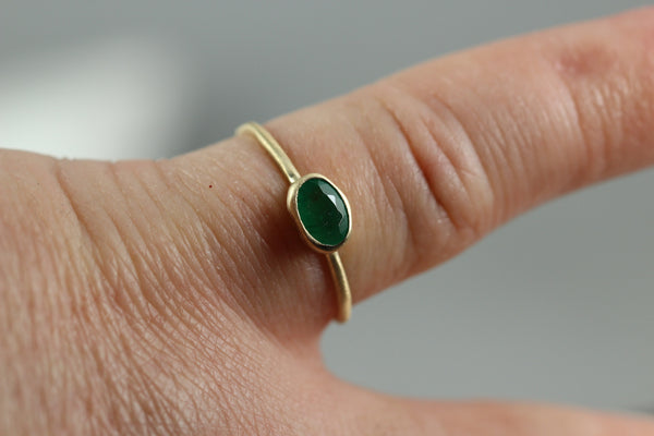 Emerald Stacking Ring - 14K Yellow Gold - Rustic Stack Ring