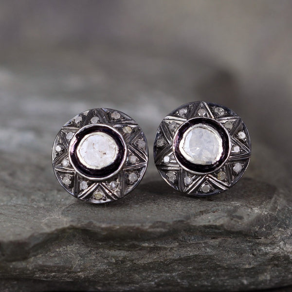 Diamond Slice Earrings - Modern Diamond Cluster Earring - Aged Patina Sterling Silver