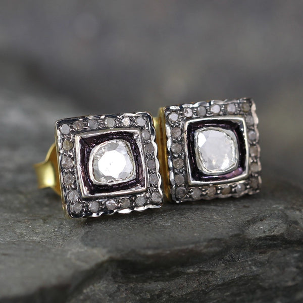 Diamond Slice Earrings - Diamond Cluster Earring - Aged Patina Sterling Silver & Vermeil