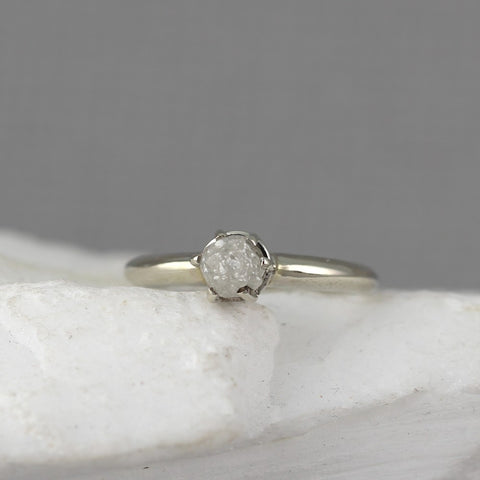 14K White Gold Rough Diamond Ring - Six Claw Classic Setting - Alternative Unique Engagement Ring