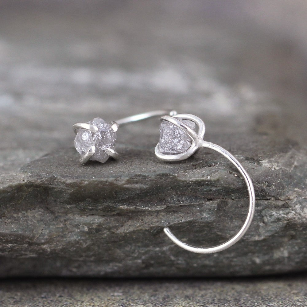 Huggie Style Hoop with Raw Uncut Diamonds - Rough Diamond Hoop Earrings - Sterling Silver